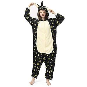 Katara- Kigurumi (10+ Modelos) Pijamas Animales Halloween Adultos, Color Unicornio Estrellas Negras, Talla 165-175cm (1744)