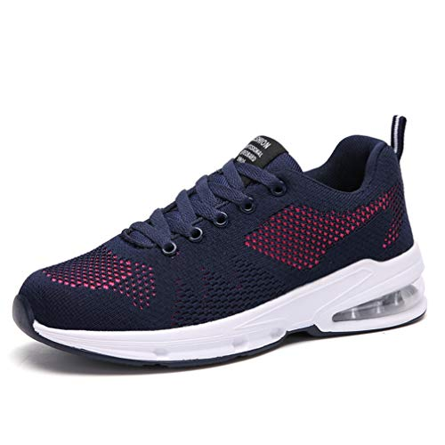 Sportschuhe Damen Turnschuhe Sneaker Freizeit Air rutschfeste Laufschuhe DäMpfung Leichte Atmungsaktive Schuhe Schwarz Blau Rot Gr.35-42 BL39