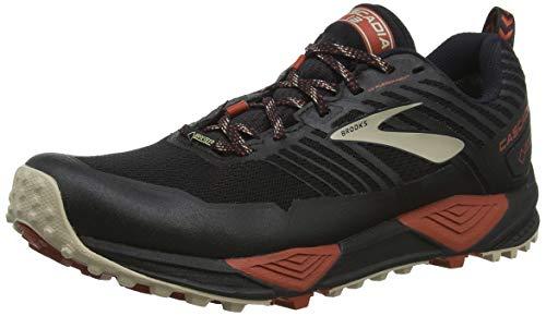 Brooks Cascadia 13 GTX, Scarpe Trail-Running Uomo, Multicolore (Black/Red/Tan 037), 46 EU