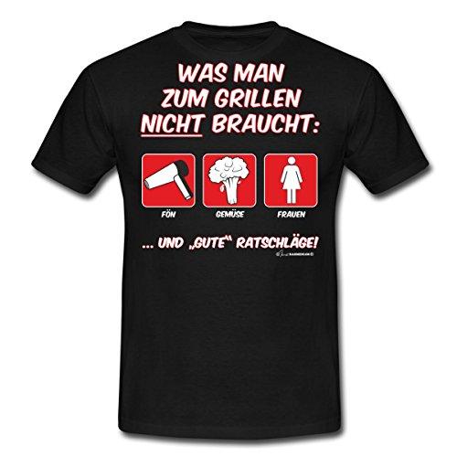 Spreadshirt Grillen was Man Nicht Braucht Rahmenlos® Männer T-Shirt, 4XL, Schwarz (Braucht Was)
