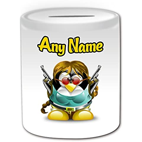 Regalo personalizado–Lara Croft caja de dinero (pingüino película carácter tema de diseño, color blanco)–cualquier nombre/mensaje en su único–disfraz de superhéroe Movie Hero Tomb Raider