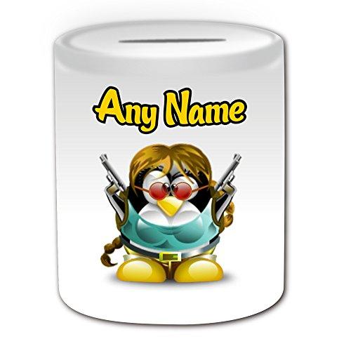 Personalisiertes Geschenk–Lara Croft Spardose (Pinguin Film Charakter Design Thema, weiß)–Jeder Name/Nachricht auf Ihre Einzigartiges–Kostüm Film Superheld Hero Tomb Raider