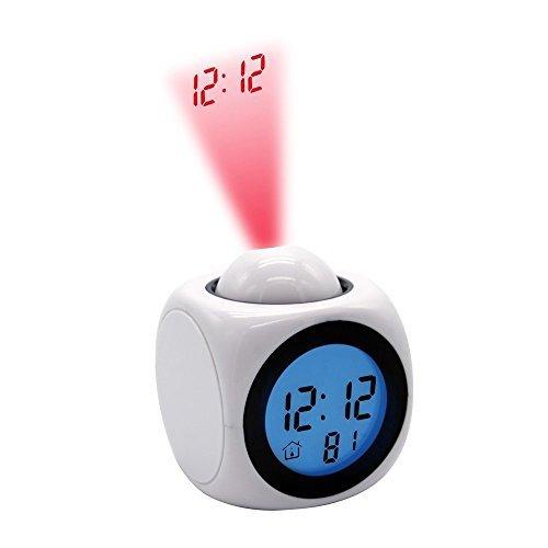 Rightwell Digital Projektionswecker Uhr Kinder Bettseite Projektionsuhr Sprechender Wecker mit Temperatur Anzeigen (Weiß)