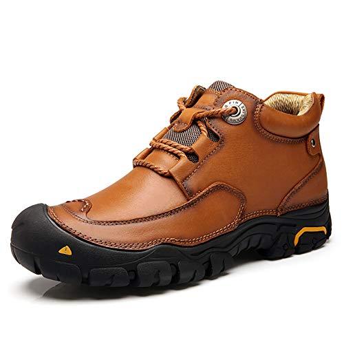 Mitte Kalb Casual Stiefel (FHTD Herren-Kampfstiefel Leder Herbst/Winter Boots Wanderschuhe Rutschfeste Outdoor-Casual-Schuhe Mitte-Kalb-Stiefel Schwarz/Braun,Brown,40)
