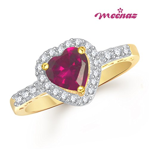 Meenaz Ruby Ring 24k Heart Ring In Fashion Ring Gold Ring For Girls & Women In American Diamond Cz FR353  available at amazon for Rs.176