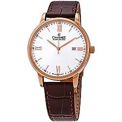 Charmex Amalfi - Reloj de Pulsera para Hombre (Esfera de Cristal de Zafiro, Correa de Piel auténtica, Caja de Acero Inoxidable chapada en Oro Rosa de 42 mm, Resistente al Agua)
