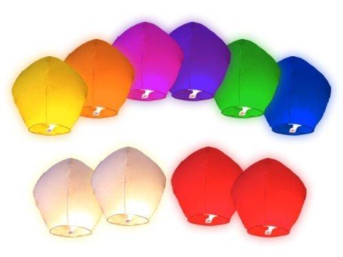 Lot de 10 pièces Lanternes celestes volantes colorées pour fêtes et moments romantiques et magiques+1 bracelet de gel de silice(couleur aléatoire)