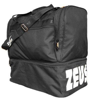 Zeus borsa medium borsone uomo calcio palestra piscina tracolla sport 48 x 50 x 27 cm - nero