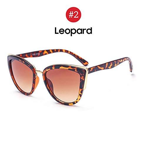 MJDABAOFA Sonnenbrillen,Meine Damen Retro Big Cat Eye Sonnenbrille Trend Gradient Leopard Rahmen Braun Getönten Sonnenbrille Mode Cateye Elegante Farbtöne Für Frauen