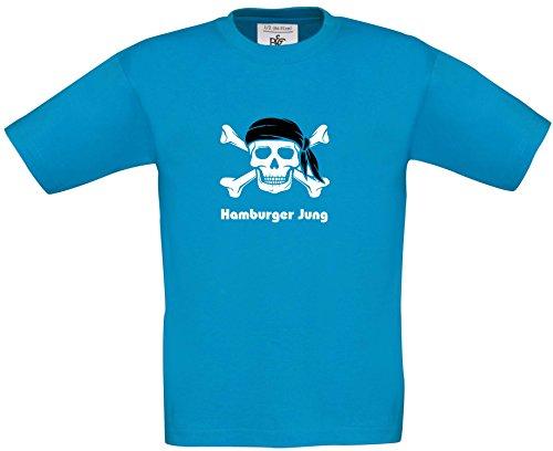 Fun Shirt Sprüche Kids - Pirat Hamburgshirt - Schriftzug Hamburger Jung Jungen T-Shirt Karneval Fasching Kostüm, Druck weiss, T-Shirt, Grösse 152/164, (Kinder Hamburger Kostüme)