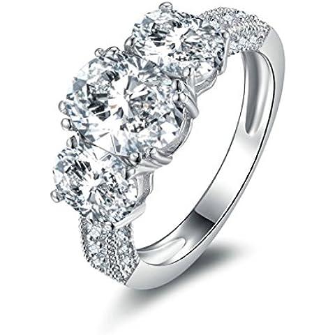 (Personalizzati Anelli)Adisaer Anelli Donna Argento 925 Anello Fidanzamento Incisione Gratuita Rotondo Singola Anello Diamante