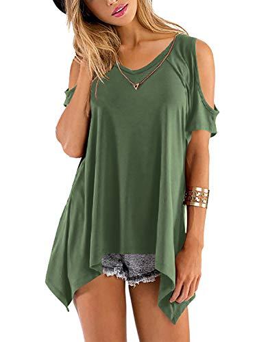 Beluring Damen T-Shirt Sommer Top Einfarbig Kurzarm T-Shirt Casual Bluse Tunika Armeegrün S -