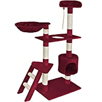 Blackpoolal Cat Kitten Scratching Post Tree with Rope and Hammock Scratches Bed Tree Climbing Toy Activity Center Pets Play Tower House Home Decorative Furniture (150CM)