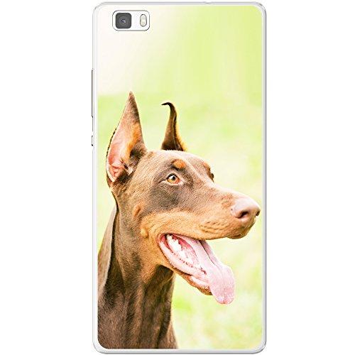 Doberman Pinscher nain chien Étui rigide pour téléphone portable Nahaufnahme eines braunen Dobermanns