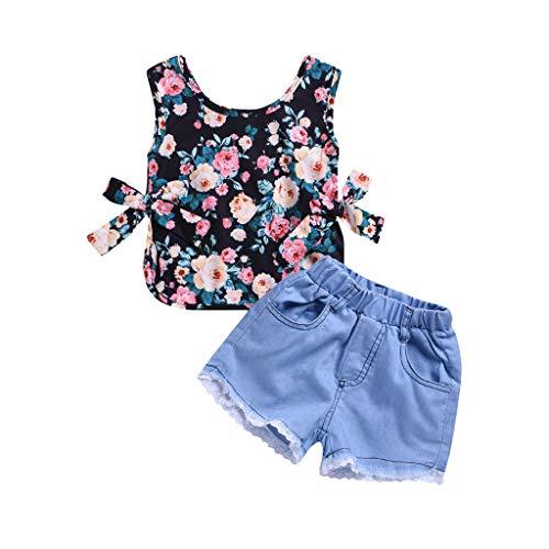 JERFER 2 Pcs Kleinkind Baby Mädchen Ärmellos Blumen Drucken Tops und Spitze Loch Denim Kurze Hose Outfits Set