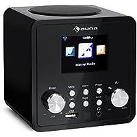 auna IR-120 • Radio con internet • Radio FM • Wi-Fi • Conexión USB y AUX • Compatible MP3, WMA, ACC • Despertador • Autoapagado • Previsión del tiempo • Mando a distancia • Compacta • Negro