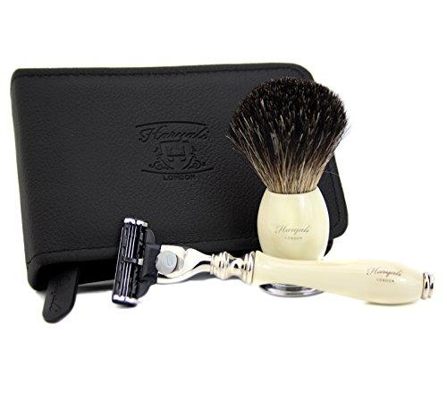 Hombre Afeitado Afeitado de Pelo de Tejón Brocha de afeitar & Gillette Mach 3–Maquinilla de afeitar para hombre con estuche de afeitado de viaje de regalo de Navidad