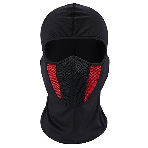 eclear deportes al aire libre cuello máscara de media cara cascos moto conducción Riding Senderismo Viajar Snowboard ciclismo casco de esquí capucha para hombres mujeres, rojo