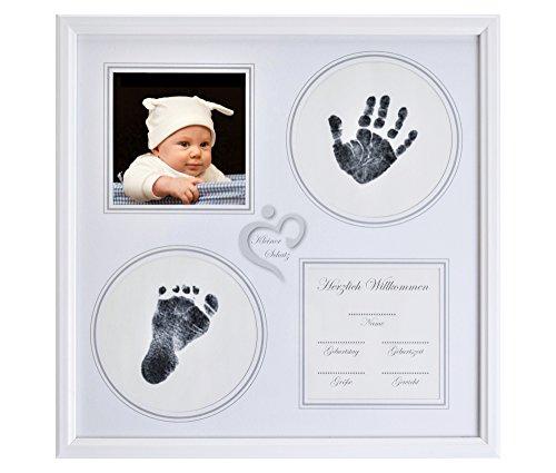 Baby Handabdruck und Fußabdruck Bilderrahmen Set in weiß, Abdruckset Made in Germany, besonderes Geschenk zur Geburt für Neugeborene, auch für Babyabdrücke von Zwillingen geeignet