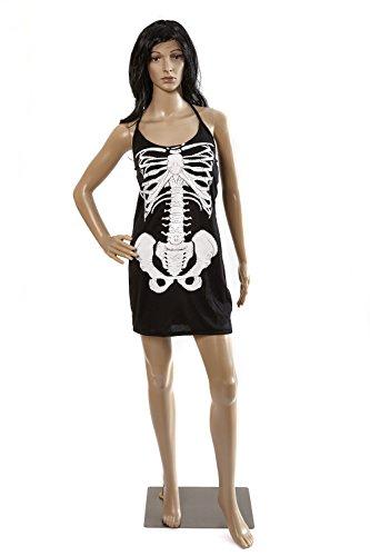 Heitmann Deco Damen-Kostüm - kurzes Skelett-Kleid - für Erwachsene - schwarz mit weißem Knochen-Aufdruck,  Größe L