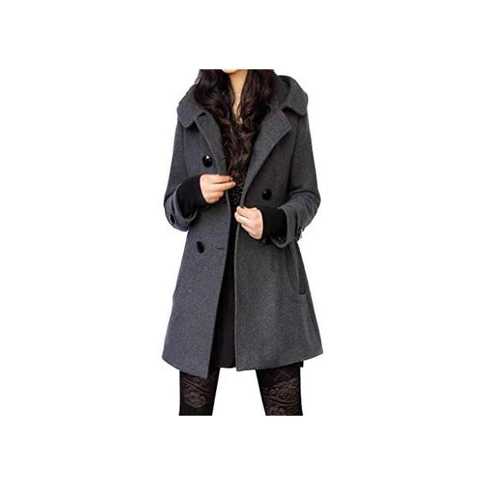 URSING Winterparka Damen Winter Mantel Klassischen Doppelten Breasted Trenchcoat Warm Schlank Vintage Jacke lammfell…