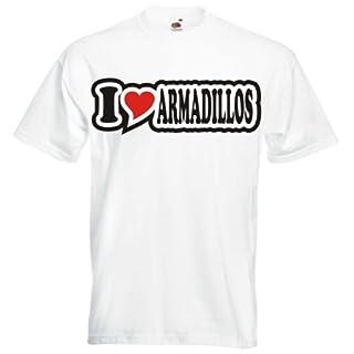 T-Shirt Herren - I Love Heart - weiß I LOVE ARMADILLOS XXL