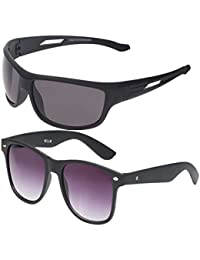 Vast Combo Of 2 Fashion All Day And Night Vision Biking, Driving And Sports Unisex Sunglasses (COMBO_B22331BLKPURP_BK)