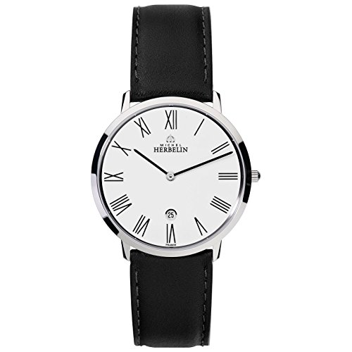 Michel Herbelin Unisex Erwachsene Analog Uhr mit Leder Armband 19515/01