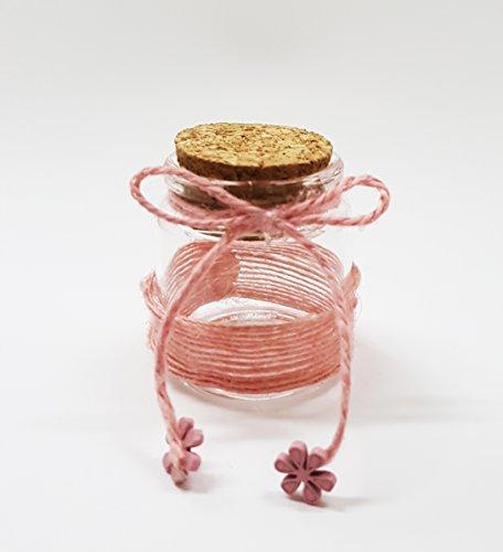 takestop® Set 12Gastgeschenk Bomboniere Kugel pink 5x 5cm aus Glas Deckel kork Band für Hochzeitsmandeln Hochzeit Wedding