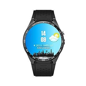 Auntwhale Kinder Smart Watch 1.39 Zoll Runden Bildschirm WI-Fi Pulsmesser Schrittzähler Smartwatch Unterstützung Blau-Zahn – Schwarz/Schwarz Gold/Silber / Rot Silber