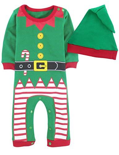 A&J Design Bambino Ragazzo Natale Pagliaccetto Elfo Costume con Cappello (Elfo, 12-18 Mesi)