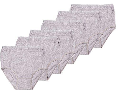 BestSale247 6 Stück Damen Baumwolle Slips Unterwäsche Taillenslips (Grau | 48-50)