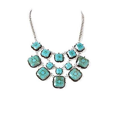 Lux Accessories Seafoam & Silver Faceted Bib Necklace