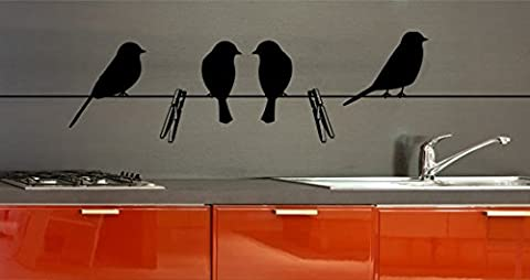 Stickers muraux décoratifs Oiseaux Sur le fil format 70cm X 15cm