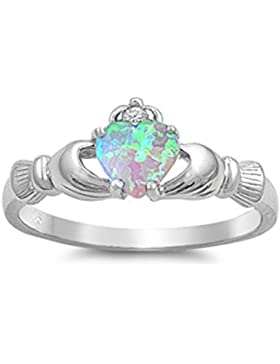 Sterlingsilber Claddagh Ring - Lab Opal