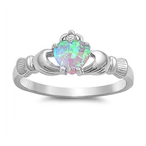 Sterlingsilber Claddagh Ring - Lab Opal (Gold Claddagh-ring Mit Opal)