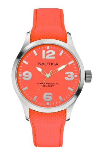 Nautica A11588G 44mm Stainless Steel Case Orange Silicone Mineral Women's Watch