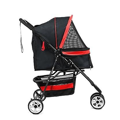Pet Travel Stroller Three Wheels Cat Dog Pushchair Trolley,Puppy Carrier,Shockproof,Single Front Wheel 360° Rotation… 2