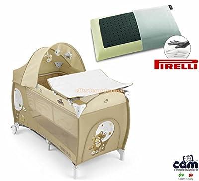Daily cuna CAM Plus oso beige infancia baby Pirelli PS13 almohada memory