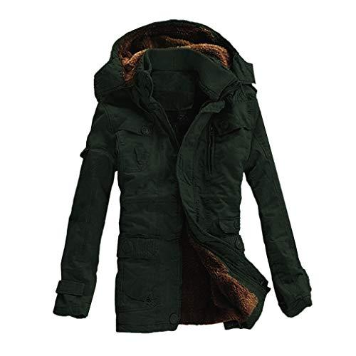 hearling Coat Winter Warme Baumwolle gepolsterte Button Pocket Zipper Hooded Jacket Top Coat ()