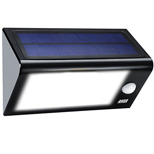(24 LED 4 Mode) Amir LED Solar Lights, Solar Powered Motion Sensor Lights, Security Lights, Waterproof & Auto On/ Off, for Patio, Deck, Yard, Garden, Home, Stairs, etc. Test