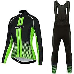 BurningBikewear Uglyfrog MTB Ropa para IR en Bici de Mujer Triatlon Invierno Mantener Caliente+3D Cojín Transpirable Ropa de Bicicleta Cómoda Conjunto de Ciclista para Deporte al Aire MESQXFNC07