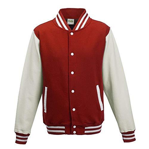 Just Hoods - Unisex College Jacke 'Varsity Jacket' BITTE DIE JH043 BESTELLEN! Gr. - M - Fire Red/White