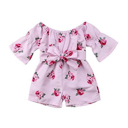 Wang-RX Prinzessin Baby Girl Floral Strampler aus Schulter Flare Ärmel Bow gestreiften Overall Overall Outfit Sunsuit Kleidung (Der Frosch-outfits Prinzessin Und)