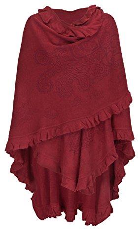 AdoniaMode Damen Poncho extra gross Fein-Strick Cape Stola Schultertuch Überwurf aus Wolle und Viskose Rot -