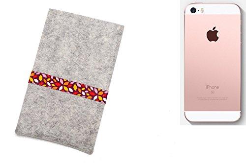 """flat.design Filzhülle """"Lisboa"""" für Apple iPhone SE - passgenaue Handytasche aus 100% Wollfilz (anthrazit) - made in Germany Schutz Case für Apple iPhone SE rote Blätter - hellgrau"""