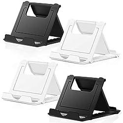 COOLOO Support Téléphone, Portable Réglable, 4 Pièces Support de Bureau Phone Tablette Stand Universel Multi-Angles Pliable Compatible iPhone X/8/7 Plus/7/6s/6/5/4 Smartphones E-Reader