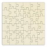 Holzpuzzle selbt gestalten und bemalen, leeres Puzzle aus Holz, Blanko-Puzzle, 36 Teile, ca. 290 x 290 mm, unbehandeltes Schichtholz
