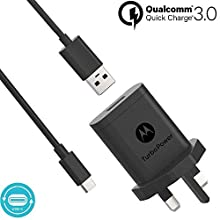 Motorola Original- TurboPower 18W Wall Charger with SKN6473A 3.3ft (1m) USB-A to USB-C cable in retail box with Authentication Label and User Guide