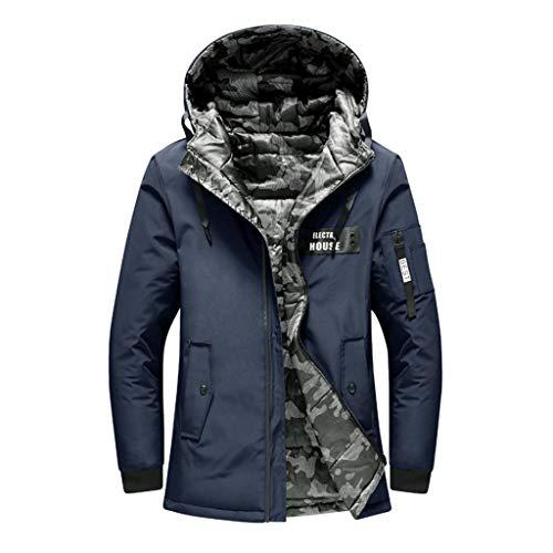 ADESHOP Warme Herrenjacken, Winter, positiv, negativ, einfarbig, Taschenreißverschluss, mit Kapuze, Mantel - Kälte Resistent Kleidung